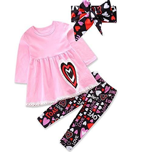 3 STKS Outfit Kids Meisjes Hart Print Lange Mouw Shirt Casual Ruffled Blouse Top + Liefde Patroon Lange Broek + Hoofdband