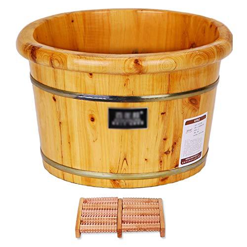 MonthYue Holz Sauna Eimer,Hölzernes Fußbecken, Natürliche Holzzypresse, Fußbad Eimer Für Pediküre Und Massagegerät,E