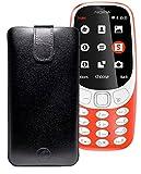 Original Favory Etui Tasche für Nokia 3310 (2017) | Leder Etui Handytasche Ledertasche Schutzhülle Case Hülle Lasche mit Rückzugfunktion* in schwarz