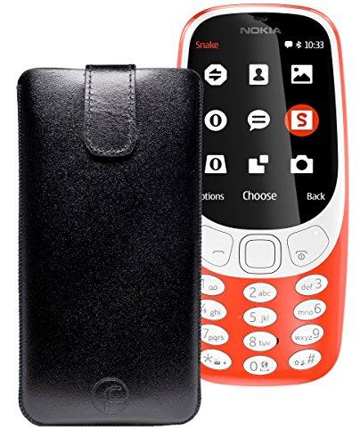 Original Favory Etui Tasche für Nokia 3310 (2017) | Leder Etui Handytasche Ledertasche Schutzhülle Hülle Hülle Lasche mit Rückzugfunktion* in schwarz