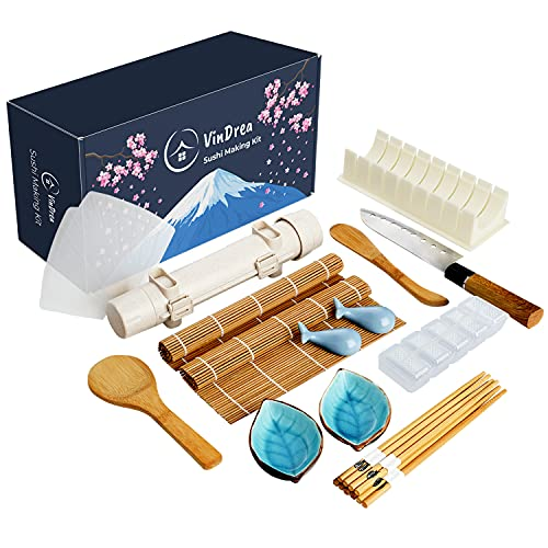 VinDrea Sushi Making Kit For Beginners - Bazooka Roller Kits - Bamboo Rolling Tools - Easy DIY Sushi Maker Set - A Fun Way To Make Your Own Sushi At Home - Enjoy Homemade Sushi With Kids - Gift Sets