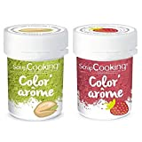 2 Colorantes alimentarios con aromas de fresa y pistacho