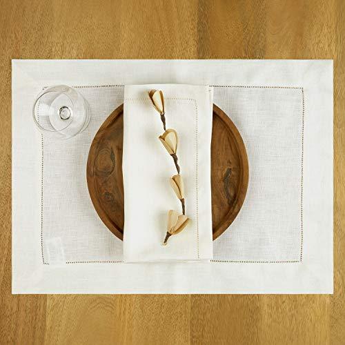 D'Moksha Homes - Manteles individuales de lino 100% puro con vaina – Juego de 4 manteles individuales mágicos marfil de 35,5 x 45,9...