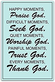 Meishe Art Poster Print Inspirational Quotes Phrases Motivational Sign Happy Moments Praise God Difficult Moments Seek God Wall Decor