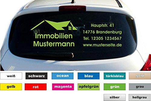 Immobilien Werbung Autobeschriftung Aufkleber Heckscheibe Fahrzeug Breite 100 cm