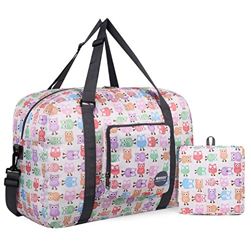Wandf Foldable Travel Duffel Bag Carryon Luggage Sports Gym Weekend Tote Bag Water Resistant Nylon for Women (A-Owl)