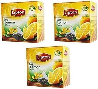 Lipton Schwarzer Tee - Zitrone - 20 Premium Pyramiden Teebeutel In Einer Box 3er Packung
