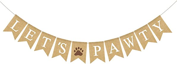 Rainlemon Jute Burlap Let's Pawty Banner Rustic Puppy Dog Birthday Party Decoration Supply
