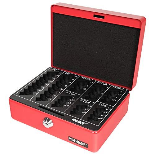 HMF 308-03 Caja de caudales, para monedas 20 x 16 x 9 cm, rojo