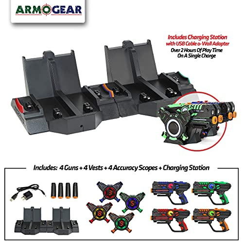 ArmoGear Rechargeable Laser Tag | Laser Tag Guns & Vests Set of 4 with Digital LED Score Display Vests | Indoor & Outdoor Play for Boys & Girls | Cool Lazer Tag Gift Toy for Kids, Teens, Ages 8-12 +