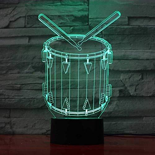3D LED Ilusión óptica Lampdrum7 Lámpara de mesa de color USB Mood Artístico Niños Dormitorio Iluminación para dormir junto a la cama-16 color remote control