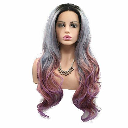 VEOBNNY Ombre B/éb/é Bleu Cheveux Perruques avec Racines Gris Synth/étique Bleu Perruques Naturel Ondul/és Avant de Lacet Perruques pour Femmes Cosplay Perruques Party Perruques 18 pouces VEBONNY-056