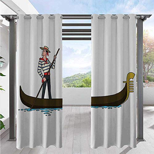 Adorise Outdoor Patio Curtain Image of Gondola in Romance City Venice European Symbol of Love Italian Design Home Fashion Window Panel Drapes for Proper Look and Fullness Brown White W120 x L108 Inch