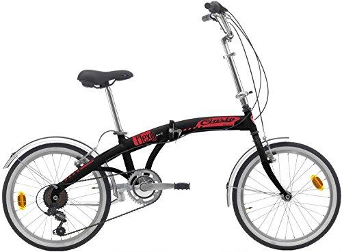 Cicli Cinzia Bicicletta 20' Citybike Carflexy 6/V Revo Shift V-Brake Alluminio, Nero Opaco, Unisex – Adulto