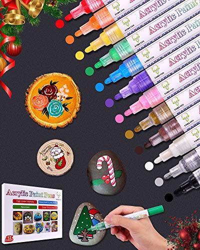 FORETOY Acrylstifte Marker Stifte, 12 Farben Wasserfest Marker stifte Acrylstifte für Steine Bemalen Metall Holz Glas Keramik Leinwand DIY Fotoalbum Papier Kunststoff mit Mittlerer Spitze(2-3mm)