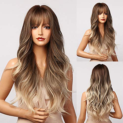 BOGSEA Ash Blonde Wig with Bangs Long Omber Brown to Blonde Wigs for Women Synthetic Wavy Wigs for Daily Party (Brown Ash Blonde)