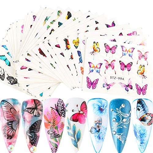YESORNO 30 Sheets Butterfly Nail Art Stickers Flower Nail Art Decals Water Transfer Nail DIY Decoration