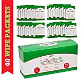 40 Pack - Travel CPAP Mask Wipe Towelettes - 40 Wipes Total {1 Wipe Per Packet} Unscented, 100% Cotton, Lint Free | for Cleaning CPAP Mask | Perfect for Travel