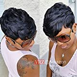 Best African American Wigs - VRZ Slight Wavy Black Short Human Hair Wigs Review