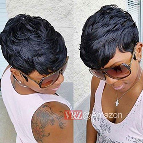 VRZ Short Curly Human Hair Wigs pixie Cut Summer Short Hair Wigs for Women Black Color 1B