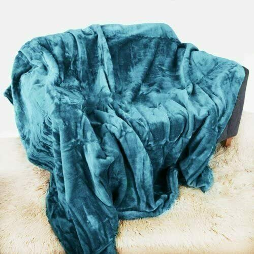 YORKSHIRE HOMEWARE®Luxury Roll Mink Super Soft Warm Cosy Faux Fur Fleece Blanket Over Sofa Bed Throws Polyester (Teal, Double 150 x 200cm)