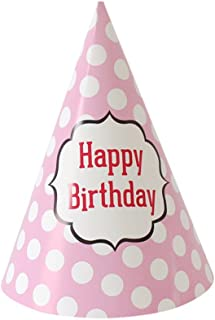 Remeehi 18Pcs Party Birthday Hat DIY Paper Hats for Photograph Kids Birthday Wedding Christmas Party Decoration Supplies Pink Dot
