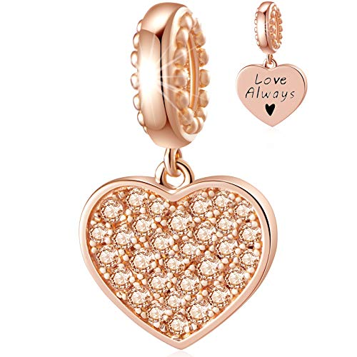 CHAWIN November Birthstone Charms, Rose Gold Heart Dangle Charm, 925 Silver Love Charm fits Pandora Charm Bracelet, Necklace, Birthday Gifts for Women, Girls, Sparkling Champagne Yellow Crystals