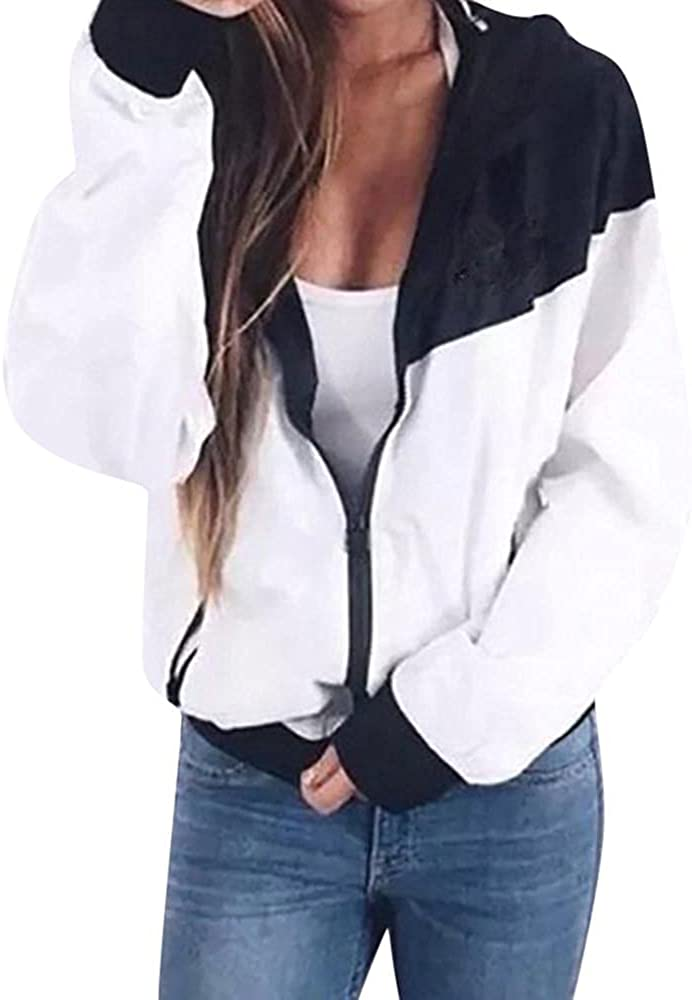 Women Long Sleeve Ranking TOP6 Patchwork Max 66% OFF Thin Hooded Pockets Skinsuits Zipper