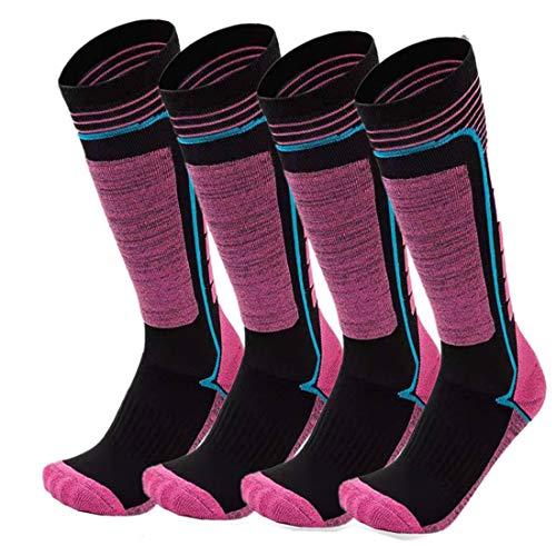 FINGER TEN 2Paar Skisocken Skistrumpf Sportsocken Baumwolle Socken Herren Damen Kinder Mädchen Jungen Verdicken Für Wintersport Snowboard Geschenk Größe 31-43 (Hot Pink, M(35-38)) …