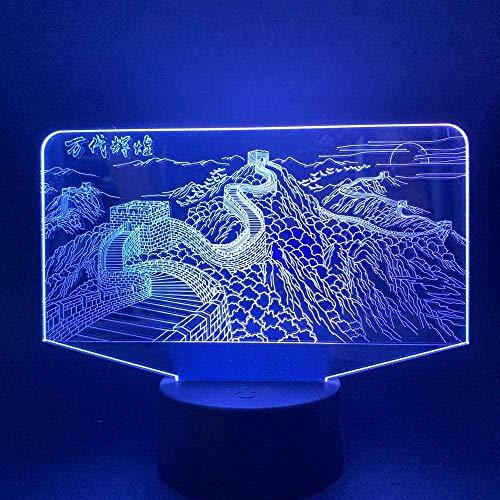 Lámpara de ilusión óptica 3D LED para niños con 7 colores que cambian de color, interruptor táctil, con cable USB para dormitorio, # -4_toca (7 colores)
