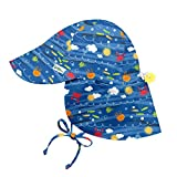 i play. by green sprouts Baby Boys' Toddler Flap Hat | All-Day UPF 50+ Sun Protection for Head, Neck, Eyes, Royal Blue Sea Friends, 2T/4T