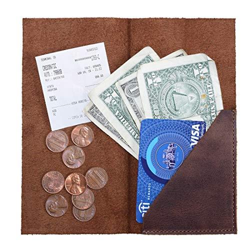 Hide & Drink, Rustic Durable Leather Bifold Check Presenter, Restaurant & Cafe Accessories, Bill Holder for Waiter & Waitress, Tip Holder, Handmade - Bourbon Brown
