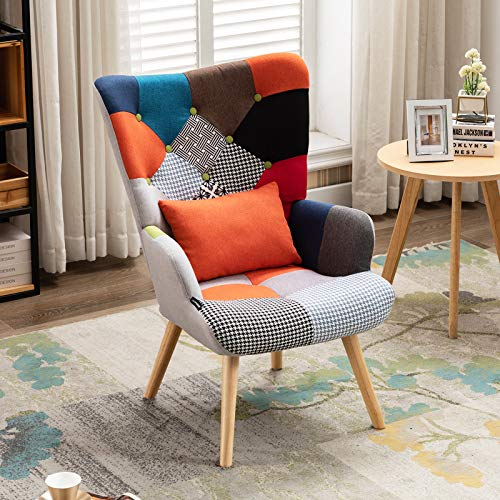 Artechworks Patchwork Armchair Buttoned Linen Fabric Scandi Accent Lounge Chair with Waist Pillow...