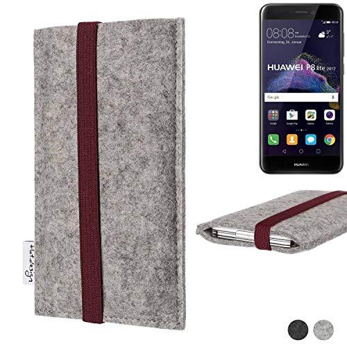 flat.design Handy Hülle Coimbra für Huawei P8 Lite 2017 Dual SIM - Schutz Hülle Tasche Filz Made in Germany hellgrau Bordeaux