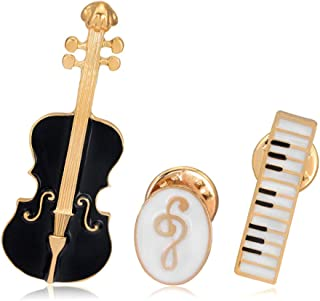 Elegant Enamel Music Themed Brooch Pins,Set 3 Pcs Includes Violin Piano Keyboard Music Note Brooch for Clothes Dress Scarf Bags Decoration