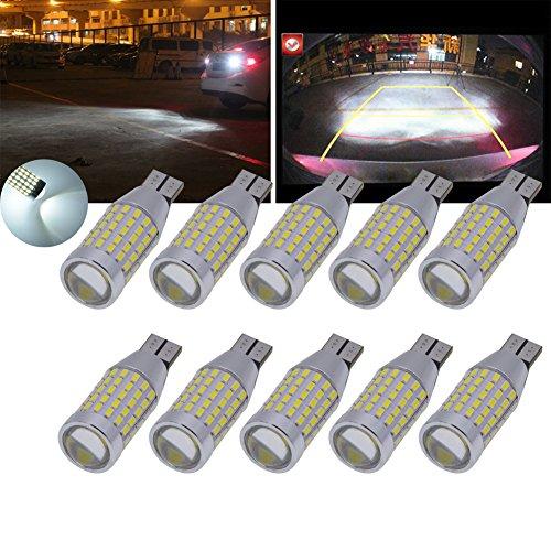 TUINCYN T15 Ampoule de recul à LED blanche, blanc xénon CANBUS Sans erreur, 3014 87SMD 921 912 Feu de recul, troisième / troisième feu stop DC 12V-24V (pack de 10)
