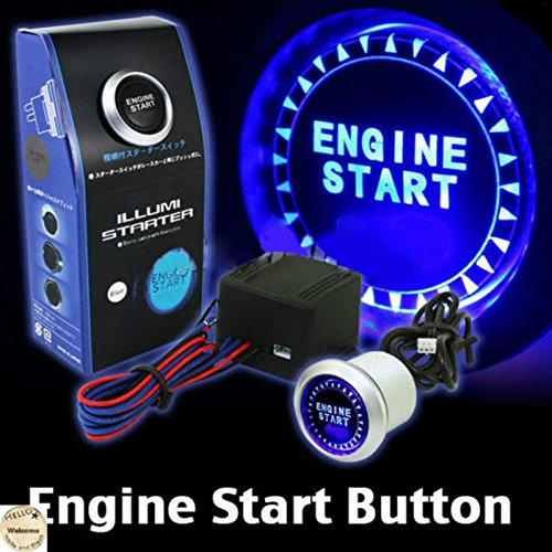 Universal 12V Car Engine Start Push Button Switch Ignition Starter Kit Blue LED