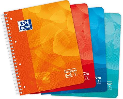 OXFORD 400080695 European Book 1 Schule A4 kariert 80 Blatt 4-Fach gelocht - Zufallsfarbe, kein Farbwunsch möglich - Schreibblock Notizblock Briefblock Schulblock