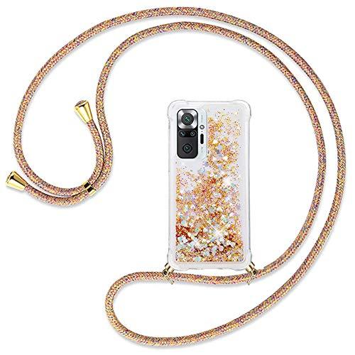 Ptny Handykette kompatibel mit Xiaomi Redmi Note 10 Pro Smartphone Necklace Hülle mit Band, Schnur mit Hülle zum umhängen Stylische Kordel Kette, Kristallklare Handyhülle zum Umhängen, Regenbogenfarbe