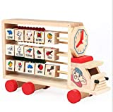 Size: Height= 17cm, Length= 26cm, Width= 8cm. Pull Toy made with wood and attractive colors Brightly coloured train with string will keep your toddler busy for hours. This 4 in one car is best item to kids education. It include wooden abacus, Alphabe...