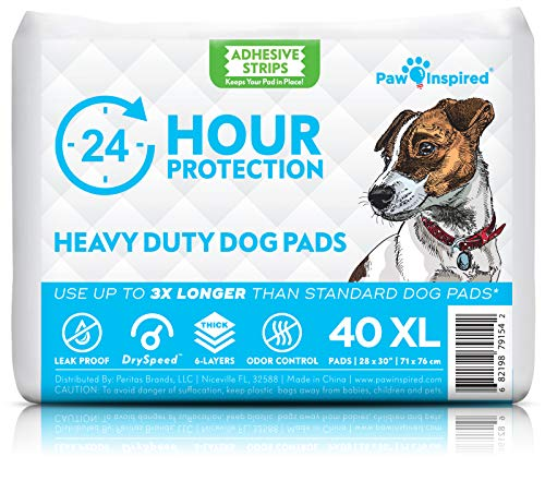 Paw Inspired Heavy Duty 24hr Protection Large Adhesive Puppy Pads | Extra Thick, Super Absorbent Dog Pee Pads for Puppy Training, Incontinence, and Beyond (X-Large, 40 Count)