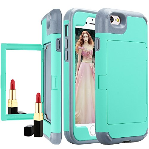 iPhone 6S Wallet Case for Women/Men,Auker Heavy Duty Card Holder&Makeup Mirror Design Shockproof Drop Impact Scratch Resistant Full Body Protective Dual Layer Armor Purse Case for iPhone 6/6S (Mint)