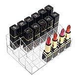 Benbilry Lipstick Holder, 24 Slots Clear Acrylic Lipstick Organizer Display Transparent Makeup Organizer(24 Slots)