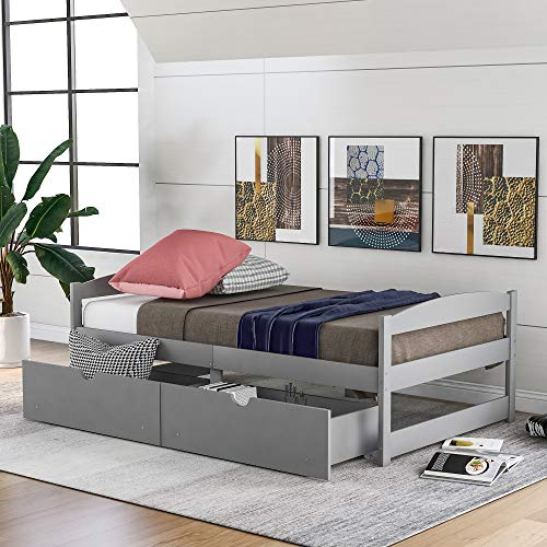 FLIEKS Wooden Daybed Frame Twin Daybed, Twin Size Wood Platform Bed Frame with Two Drawers, Drawers with Wheels Can be Placed on Both Sides (Grey)