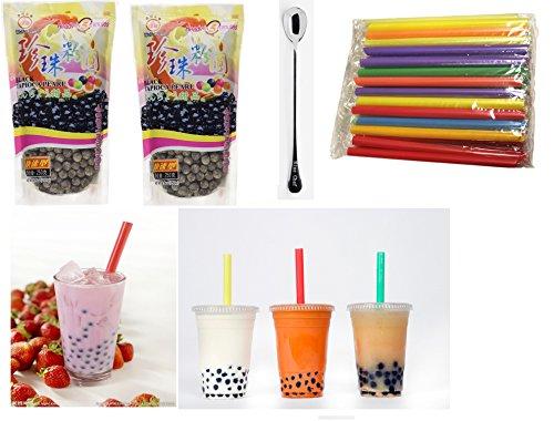 Wufuyuan - Black Tapioca Pearl 8.8 Oz (2 bag) + 50 Extra wide Fat Boba Drinking Straw + One NineChef Spoon Per Order
