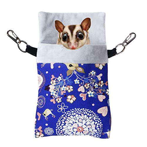 KINTOR Sugar Gliders Sleeping Pouch Snuggle Cage Hanging Bed House for Squirrels Marmosets Rats Hamster Small Pets (M-9x6inch, Blue Deer)