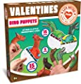 JOYIN 15 Pack Valentines Day Gift Cards with Gift Realistic Dinosaur Figure Finger Puppet Set for Valentine Classroom Exchange Valentine's Prizes Party Favor Toys by Joyin Inc