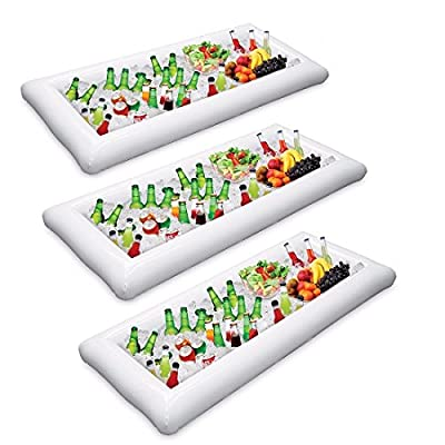 2 Packs Inflatable Pool Table Serving Bar - Large Buffet Tray Server With Drain Plug - Keep Your Salads & Beverages Ice Cold - For Parties Indoor & Outdoor use Bar Party Accessories