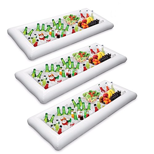 3 Packs Inflatable Pool Table Serving Bar - Large Buffet Tray Server With Drain Plug - Keep Your Salads & Beverages Ice Cold - For Parties Indoor & Outdoor Use Bar Party Accessories