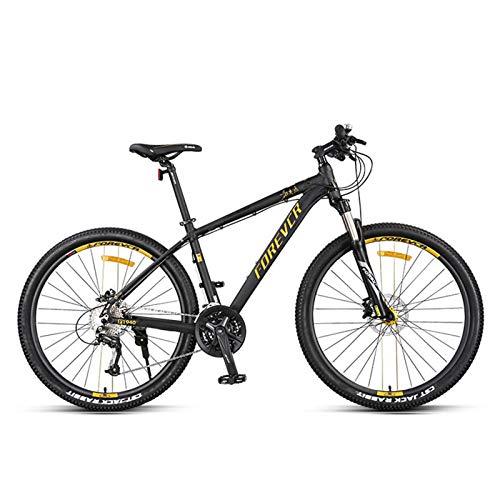 JKCKHA Bicicleta De Montaña De 27,5 Pulgadas Cuadro De Aleación De Aluminio De 27 Velocidades con Bloqueo De Cableado Interno Horquilla De Suspensión Freno De Disco Hidráulico,Oro